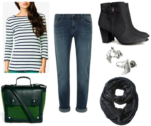 Portrait of mademoiselle chanel inspired outfit - stripe shirt, jeans, boots