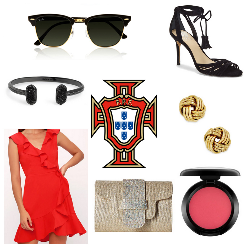 World Cup fashion: Outfit inspired by Portugal with red ruffle dress, black sunglasses, black lace up heels, gold clutch, gold earrings