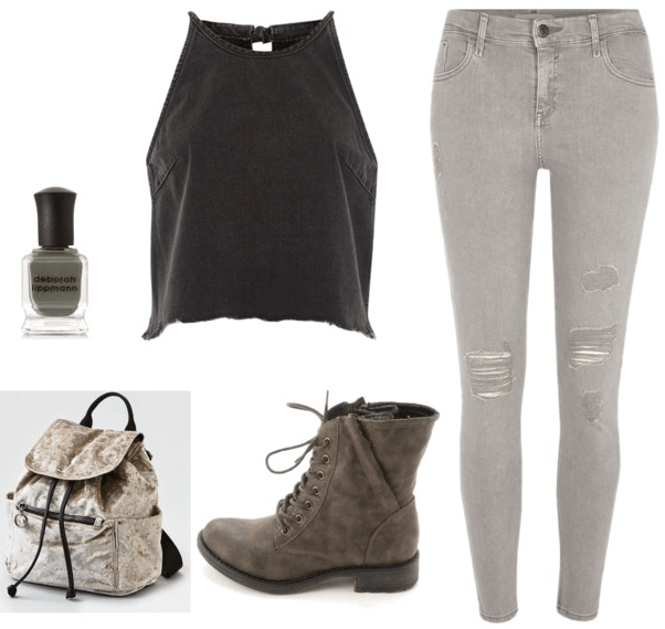 black mock turtleneck tank top grey skinny jeans green boots metallic backpack dark grey nail polish
