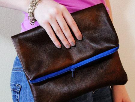 DIY faux leather clutch