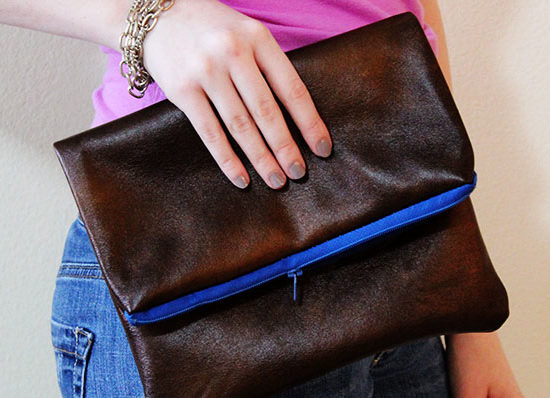 DIY faux leather clutch