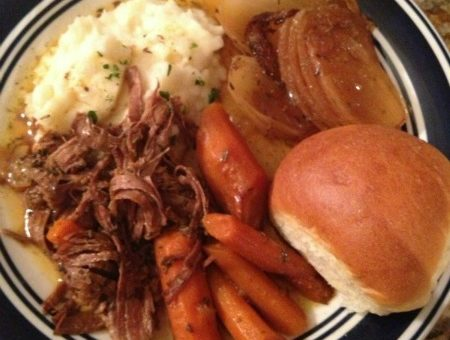 I ate out with friends over the weekend, and snagged a roll and ordered a side of mashed potatoes to go. Needless to say, it complemented my pot roast perfectly!