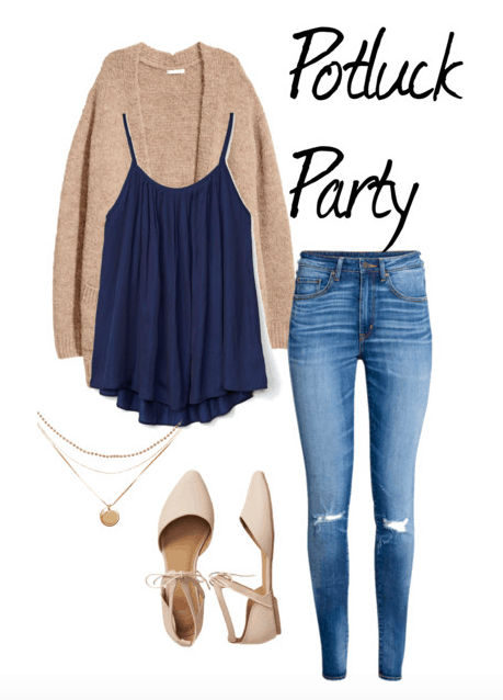 Outfit idea for a potluck party: Flowy navy tank, ripped jeans, cozy cardigan, lace-up flats, charm necklace