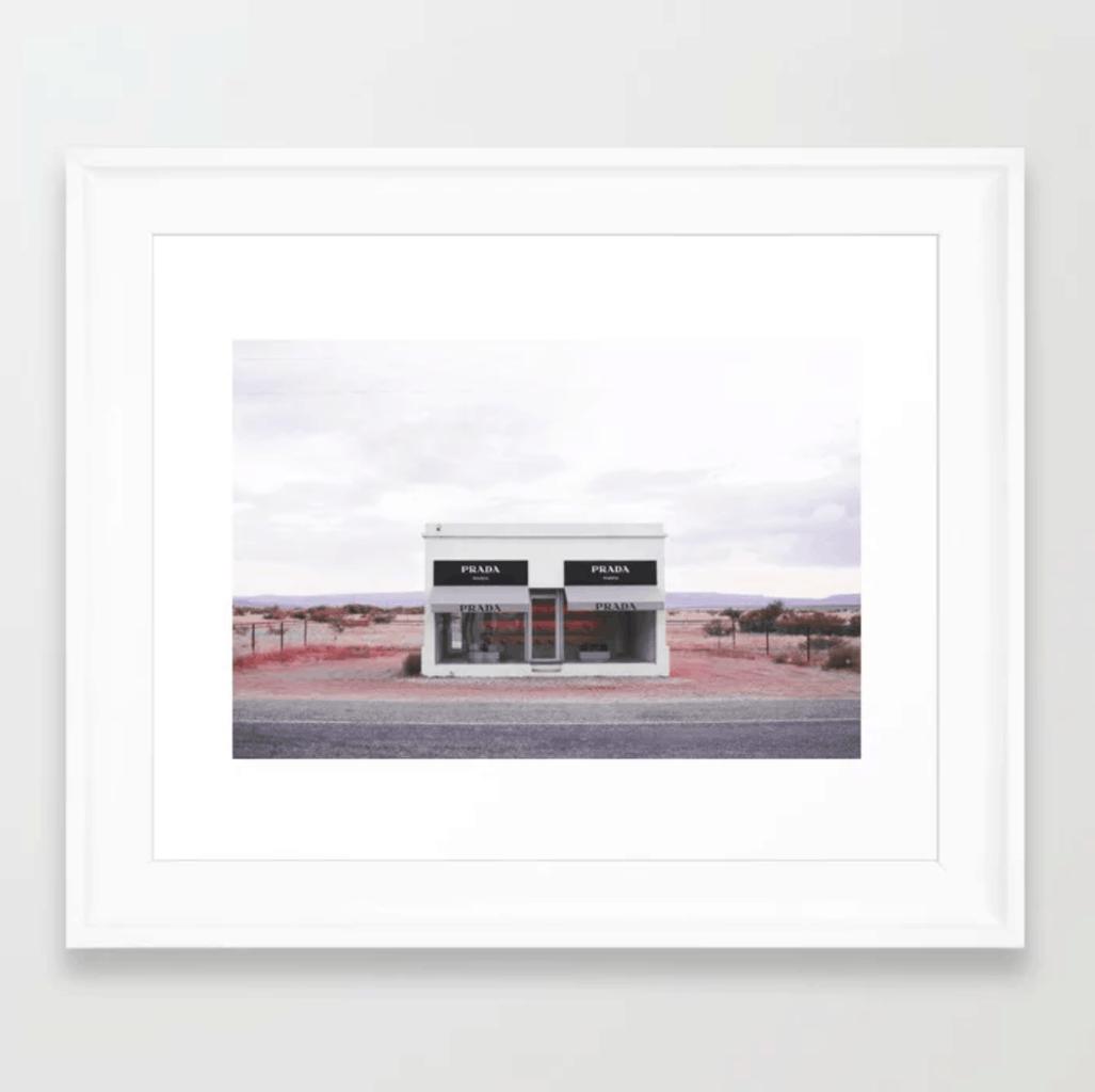 Prada Marfa framed print from Society6