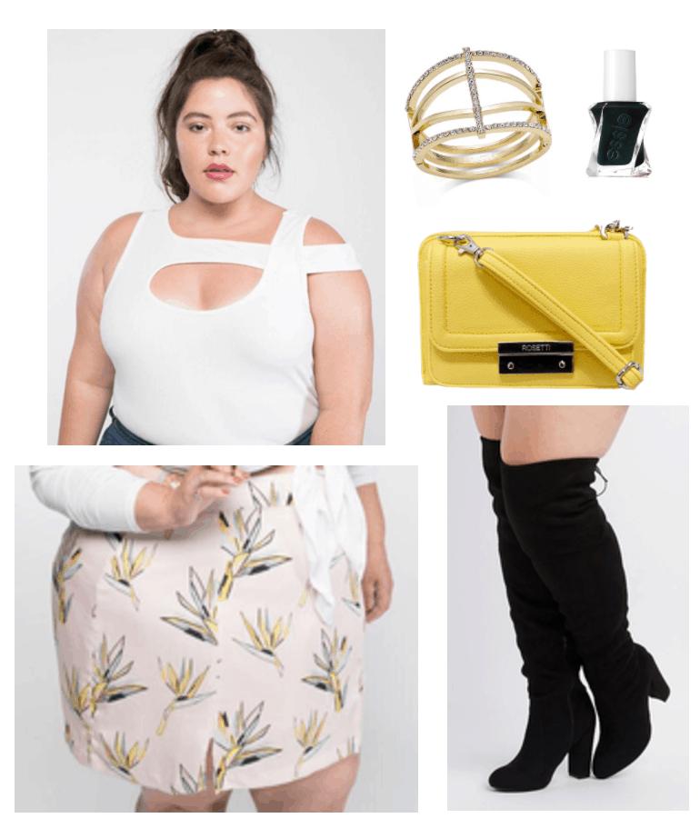 Premme girl picks 2: ribbed white bodysuit and birds of paradise mini skirt