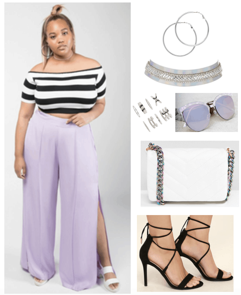 Premme girl picks outfit 1: Plus size outfit with Premme lilac slit pants, off the shoulder striped crop top, white quilted crossbody bag, metal choker, sunglasses, lace up heels