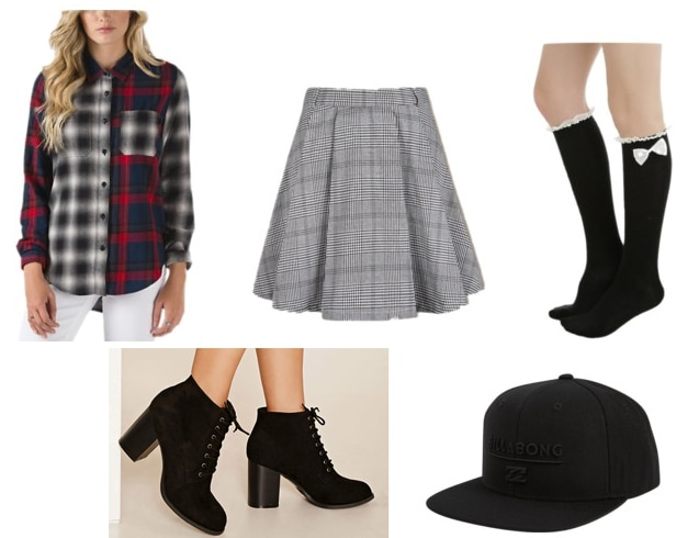 Preppy meets punk outfit idea