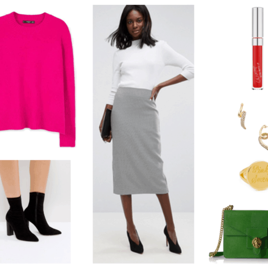 """""""Prep Remix: How to Wear Preppy Staples for Fall 2017"""" Outfit #3: Pencil Skirt--featuring bright pink loose-fitting sweater with splits at sides, black heeled sock ankle boots, black-and-white herringbone pencil midi skirt, ColourPop Ultra Matte Lip Liquid Lipstick in """"Creeper,"""" a classic blue-red shade; gold twist stud earrings with clear stones; gold round signet pinky ring with """"Pinky Swear"""" engraved in it; green double-flap cross-body bag with gold chain strap and lion closure"""