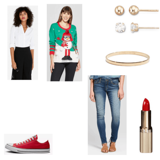 Outfit with white shirt, green and red snowman Christmas sweater, jeans, red Converse, gold bangle, red lipstick, and gold earrings and diamond earrings set