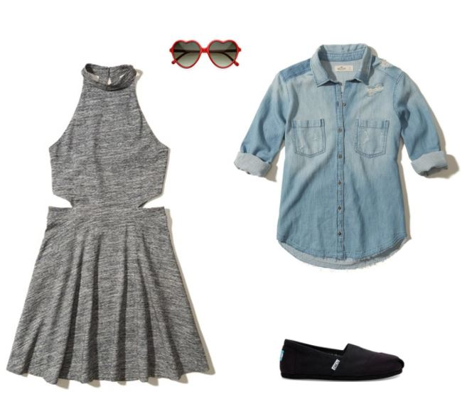 Pop concert outfit idea: High neck gray sleeveless dress with cutouts, chambray shirt tied around your waist, heart shaped sunglasses, TOMS black slip on sneakers