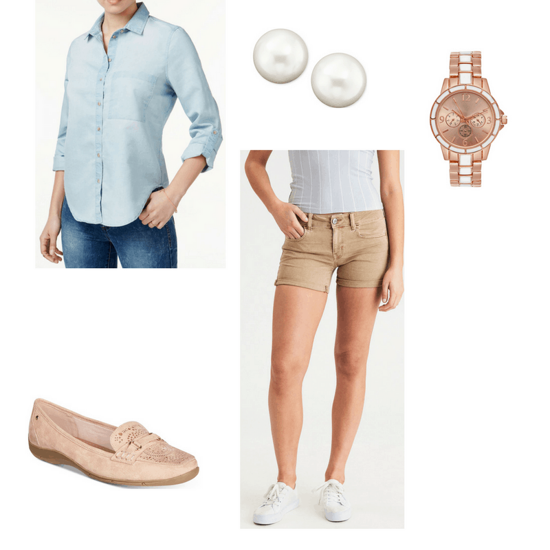 Preppy finals outfit with chambray shirt, shorts, pearl earrings, watch, and loafers