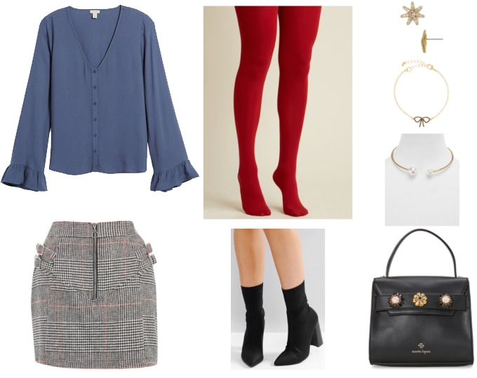 Preppy outfit with a modern twist: Blue button-down blouse with bell sleeves, structured mini skirt in plaid, red tights, black sock booties, pearl necklace, simple earrings, bracelet, black kate spade purse