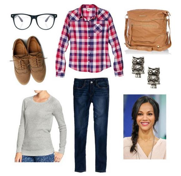 Preppy plaid sweater skinny jeans