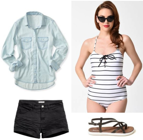 Beach day outfit ideas: Preppy outfit for a beach day with striped black and white one piece bathing suit, chambray shirt, black shorts, black sandals