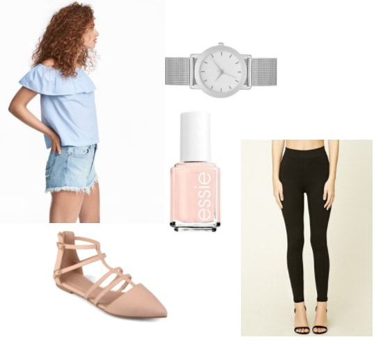 How to style an off-the-shoulder light blue top with black leggings, pale pink pointed toe flats, silver watch