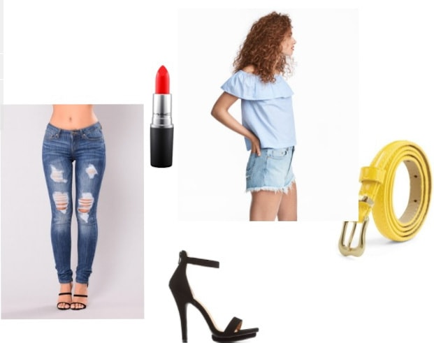 How to style an off-the-shoulder light blue top with ripped jeans, red lipstick, yellow belt, strappy high heel sandals