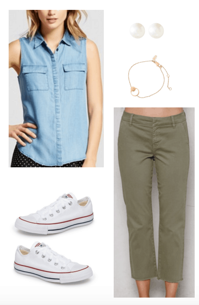 Princess Diana inspired outfit 3 including chambray shirt and olive chinos