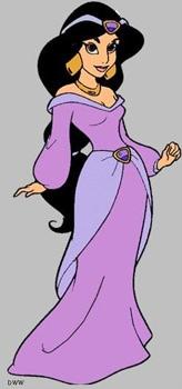 Princess Jasmine from Aladdin wearing a purple dress