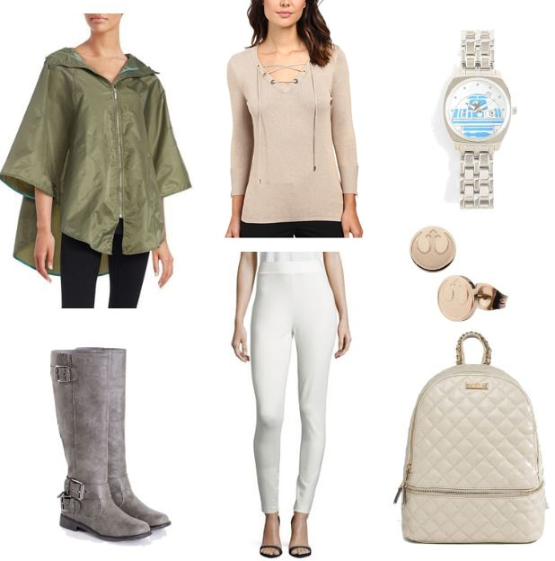 Princess Leia rebel outfit: White ponte pants, gray boots, tan lace-up sweater, green rain slicker, white backpack
