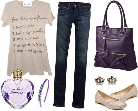 Outfit inspired by Vera Wang Princess fragrance: Jeans, princess tee, purple handbag, flats