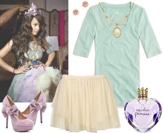 Outfit inspired by Vera Wang Princess fragrance: Ballet skirt, simple top, heels