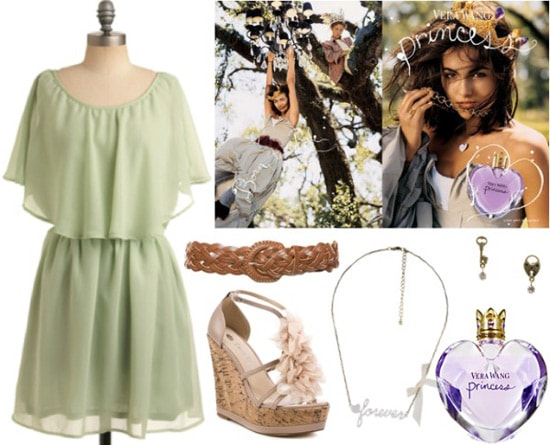 Outfit inspired by Vera Wang Princess fragrance: Green dress, floral wedges, necklace