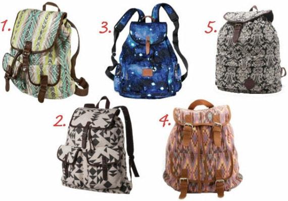 Printed backpacks