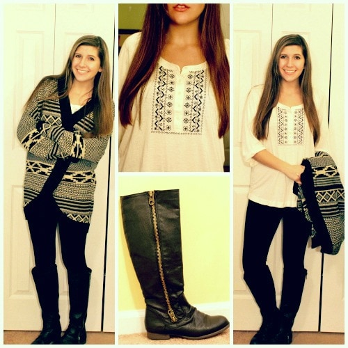 Printed cardigan boots white top