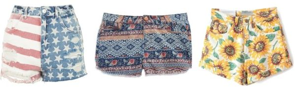 examples of printed denim shorts