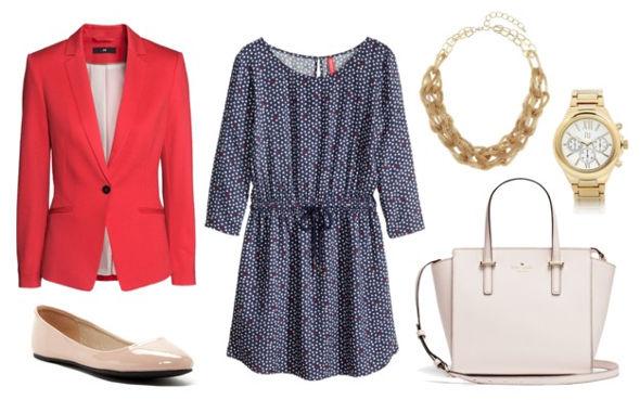 dress, blazer, flats