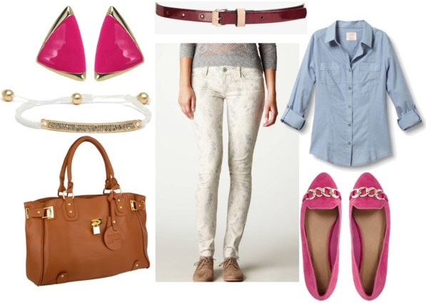 how to style printed jeggings for day with a chambray button down, pink ballet flats, a brown satchel, brown belt, pink studs and white id bracelet