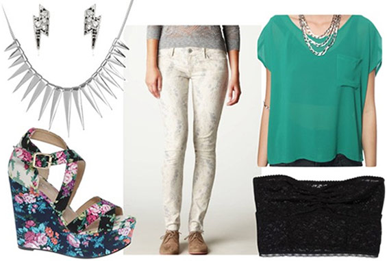 How to style printed jeggings for night with a sheer teal top black lace bandeau, floral wedges, a silver spike necklace and lightning bolt stud earrings