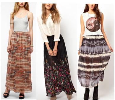 Printed maxi skirts