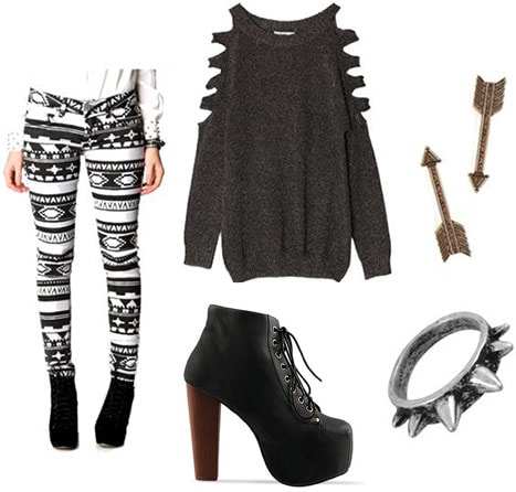 rinted pants outfit: Striped black and white leggings, cutout sweater, Lita boots, edgy jewelry