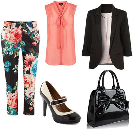 Floral print pants, sheer blouse, blazer, mary-janes