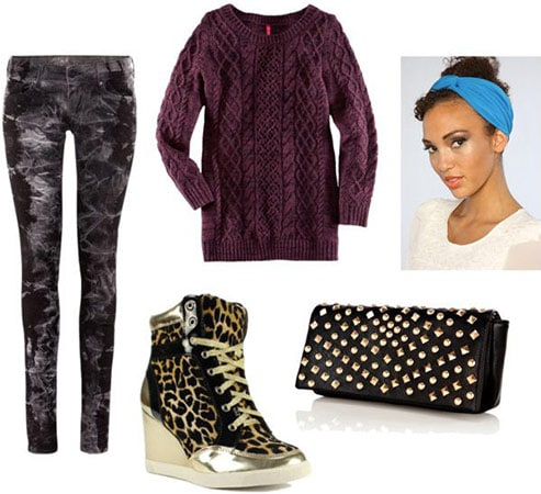 Edgy way to wear printed pants: sweater, sneaker wedges, studded clutch, turband