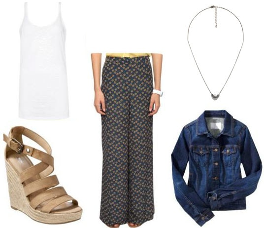 How to wear printed floral palazzo pants with a white tank top, denim jacket, wedge heeled sandals, and a pendant necklace