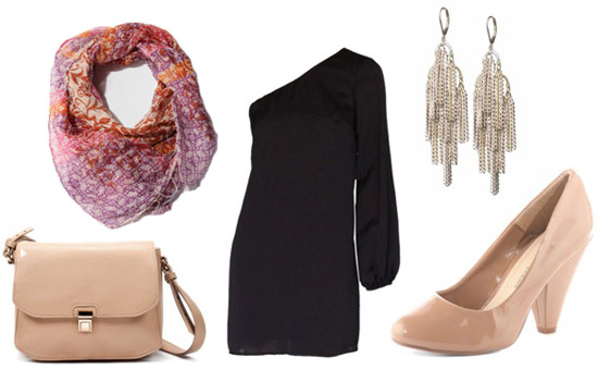 Outfit idea: How to wear a printed scarf tied to a handbag for a night out