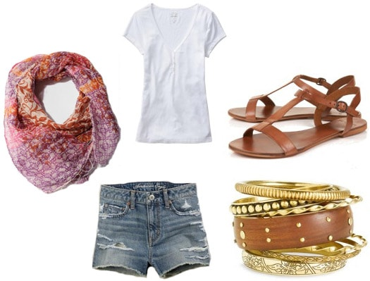 Outfit idea: How to wear a printed scarf with jean shorts and a tee in summer