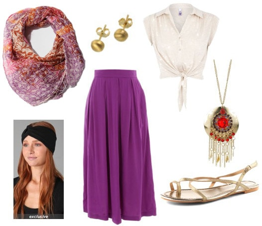 Outfit idea: How to wear a printed scarf as a headwrap