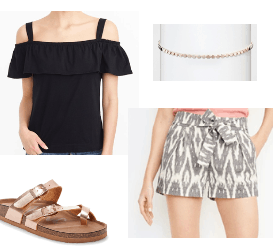 Cute outfit idea for warm weather: Patterned shorts in grey and white, rose gold birkenstock-style sandals, off the shoulder ruffle top in black, rose gold choker