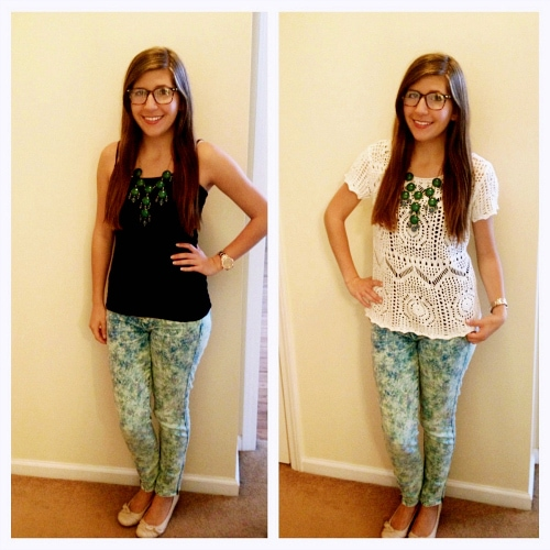Printed skinny jeans and statement necklaces