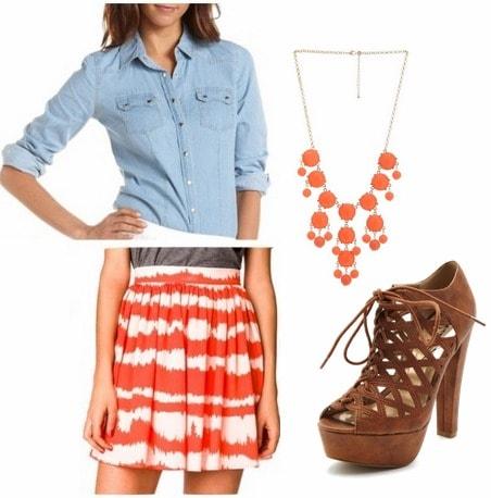 Printed skirt, chambray top, booties