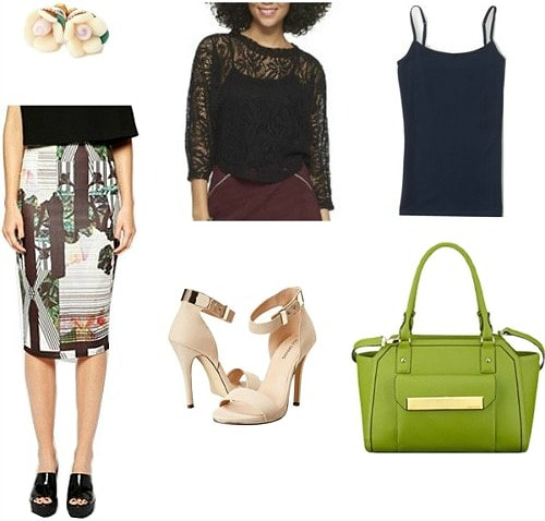 Printed skirt outfit inspired by health professionals