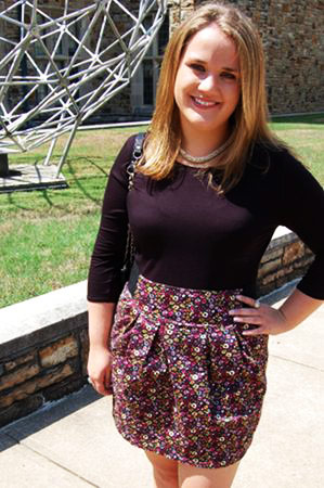 College street style trend: Printed skirt and fitted tee