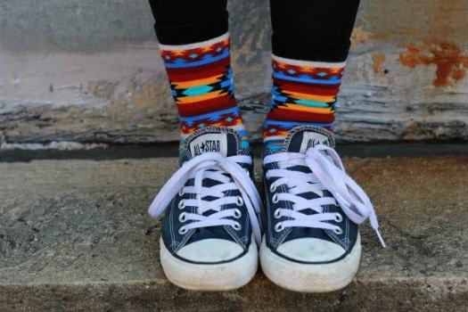Printed socks and Converse