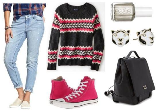 Printed sweater boyfriend jeans pink sneakers