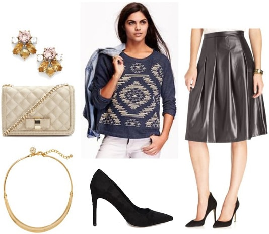 How to wear a printed sweatshirt with a faux leather midi skirt, pointed toe pumps, and jewelry