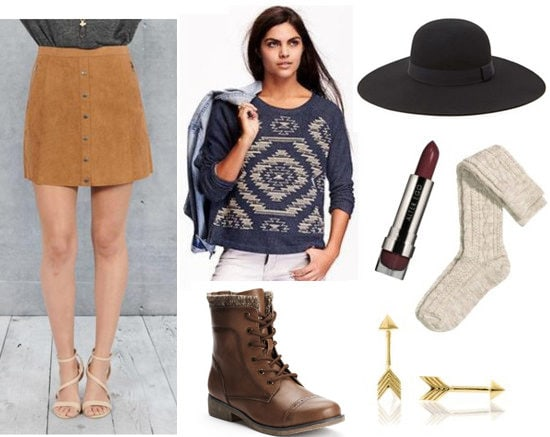 How to wear a printed sweatshirt with a suede skirt, lace-up boots, socks, a hat, and fun accessories