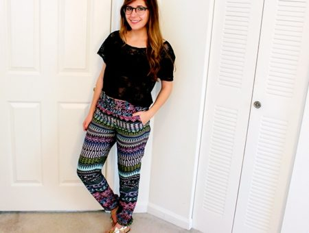 Printed Challis Pants with elastic ankle hemlines and crochet crop top